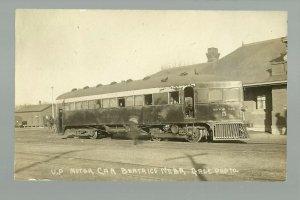 Beatrice NEBRASKA RPPC 1910 MCKEEN MOTOR CAR Union Pacific Railroad DEPOT UP RR