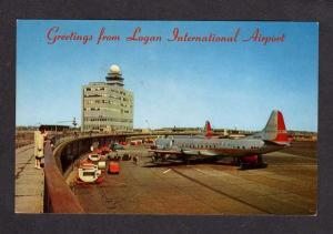 MA Logan Airport American Airlines Plane BOSTON MASS Massachusetts Postcard