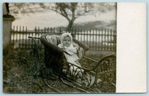 Real Photo Postcard~Geraldine Alberta Tickner~8 Month Baby in Wicker Buggy~c1910