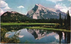 Mount Rundle Alberta AB from Vermillion Lake c1960 Vintage Postcard D69