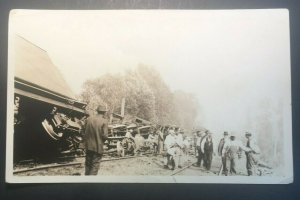 Mint Vintage Aftermath of Railroad Disaster Real Photo Postcard RPPC