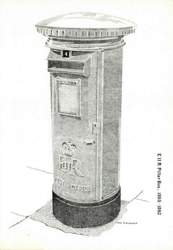Postcard, Edward VII R Pillar Post Box illustration 1953-1980 Post Office 85R