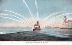 Fire Boat in Action, New York, N.Y., Early Postcard, Unused