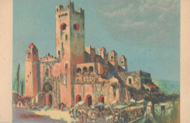 Tarazona Church & Market Oleo De Salvador Mexican Art Postcard