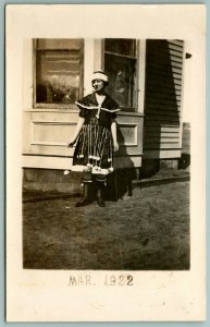 RPPC 1922 Girl in Fashion Statement~Not Quite A Flapper~Hanging Bobs~Head Band