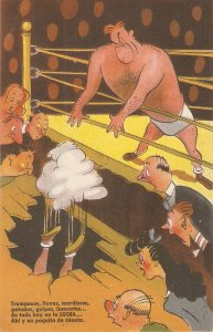 Boxing comic Humorous Spanish postcard 1950s