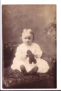 Real Photo, Baby with Teddy Bear
