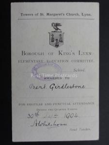 Norfolk: King's Lynn Education Committee AWARD CARD c1904 Bert Girdlestone