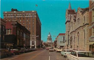 Springfield IL~Capitol Avenue~Stone-Construction 1st Methodist 1950s Postcard
