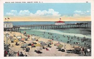 Beach and Fishing Pier, Asbury Park, New Jersey, Early Postcard, Unused