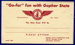 Go-For fun with Gopher State Motorcycle Club Minneapolis Minnesota mn postcard