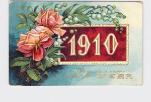 ANTIQUE POSTCARD NEW YEARS 1910 ROSES LILLY OF THE VALLEY LACE BORDER EMBOSSED