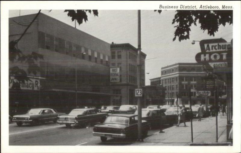 Attleboro MA Business District 1960s Postcard #2