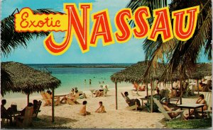 Exotic Nassau in the Bahamas Paradise Beach Large Letter c1965 Postcard F71