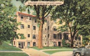 Fort Scott, Kansas, KS, Burk Street Hospital, Linen Vintage Postcard g9504