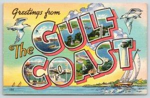 Mississippi Gulf Coast~Large Letter Linen Postcard~Sea Gulls~Sailboat~Clouds~'52