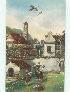 foreign c1910 Postcard WOMEN WAIT FOR STORK BIRD TO DROP BABY FROM SKY AC2851