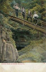 STARVED ROCK , Illinois, 1901-07; Men standing on log bridge