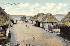 Cuba Typical Fishing Village Scene Children Huts Antique Postcard K12925