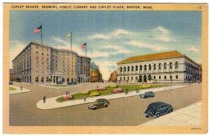 Boston, Mass, Copley Square, Showing Public Library and Copley Plaza