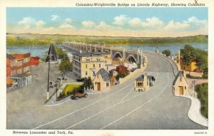 Columbia Pennsylvania~Wrightsville Bridge~Downtown~Toll Booth~1930 Linen PC
