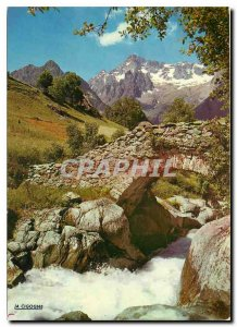 Postcard Modern Visit the Alps Bridge of the devil Ouiels and the massive Olan