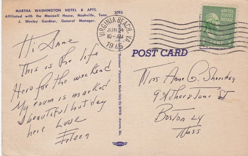 Virginia Virginia Beach Martha Washington Hotel & Apartments 1945 sk6938