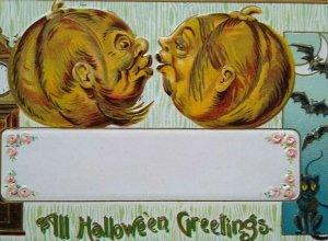Vintage Halloween Postcard Gottschalk Kissing Pumpkin Heads Anthropomorphic 2040
