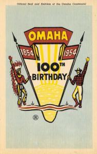 Omaha Nebraska~100th Birthday 1854-1954 Centennial~Cowboy Indian Emblem~Linen PC