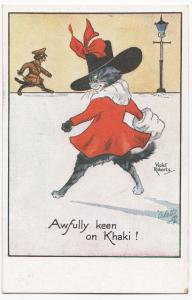 Anthropomorphic Cat Comic PPC, By Tuck, Awfully Keen On Khaki, Violet Roberts