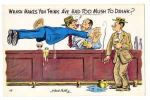 OVERSIZE Cartoon, Drunk Humour, Vintage Bob Petley Humour, 5 1/2  X 8 1/2  inch