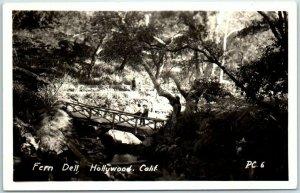 Hollywood, California RPPC Photo Postcard FERN DELL Rustic Bridge Scene c1940s