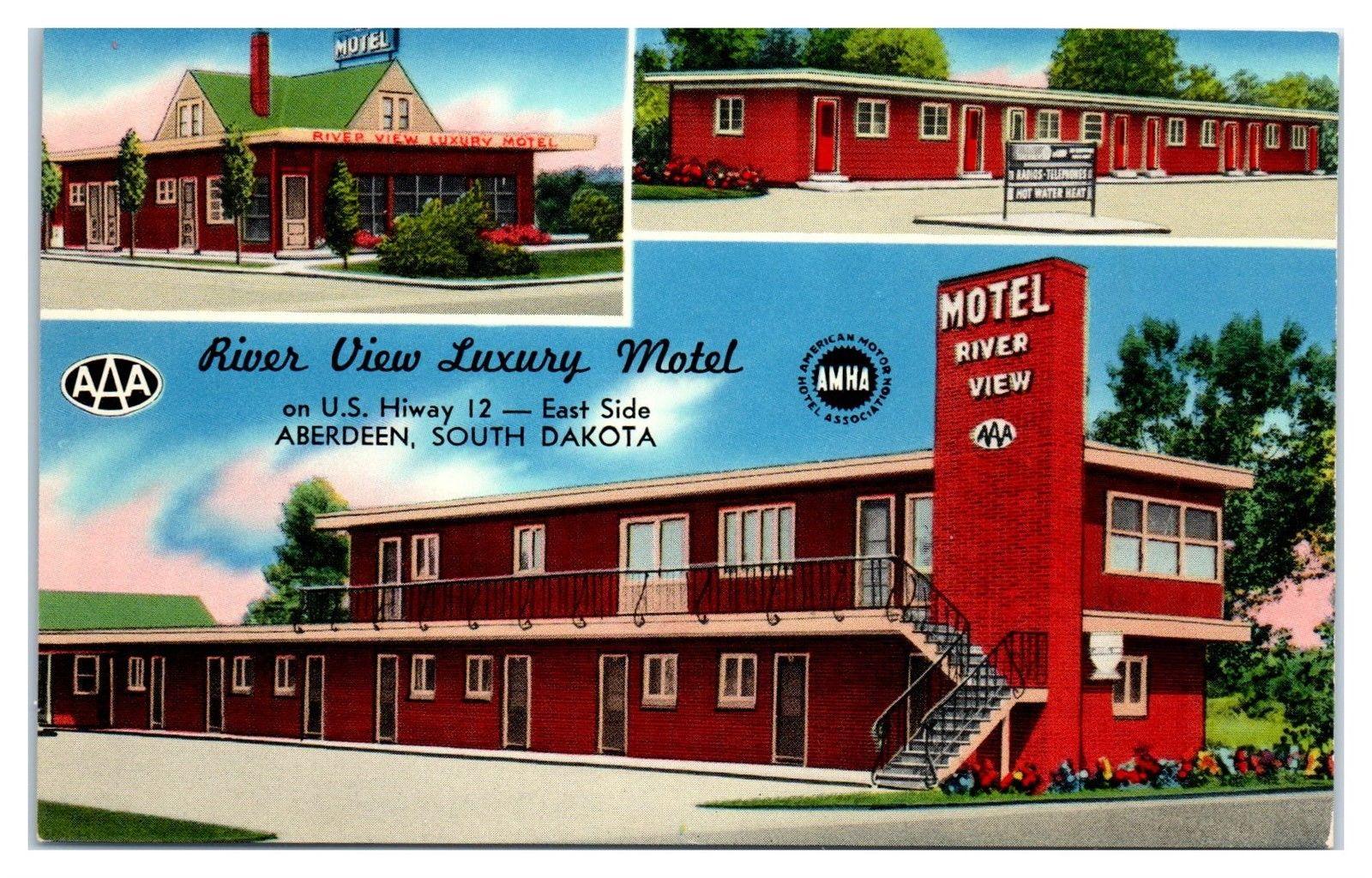 1950s/60s River View Luxury Motel, Aberdeen, SD Postcard