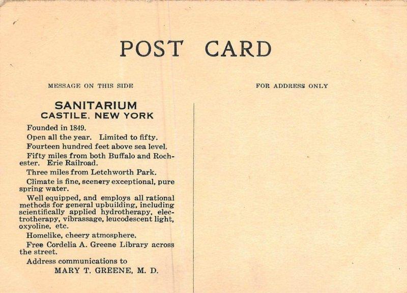 CASTILE NEW YORK~WATER CURE GREENE SANITARIUM-FRONT VIEW~ADVERTISING POSTCARD