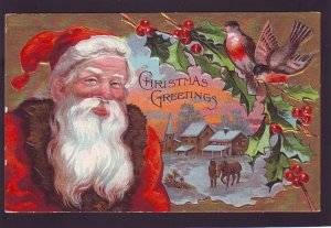 P1541 old used postcard large santa clause birds village etc christmas greetings