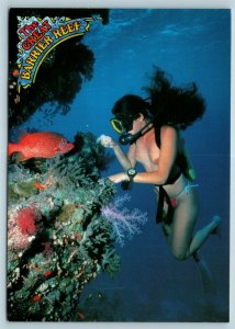 Postcard Australia Queensland Great Barrier Reef Nude Topless Female Diver 3 AD6
