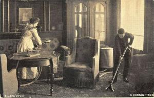 France Domestic Vacuum Sweeper Housecleaning Postcard.