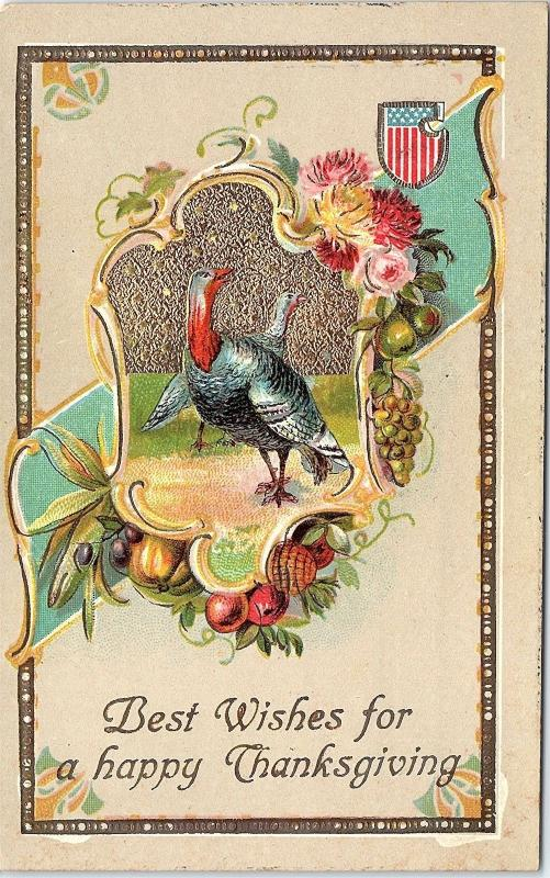 Postcard Best Wishes For A Happy Thanksgiving Turkeys Gold Glitter Flag Q6