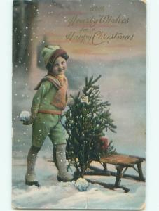 Pre-Linen Christmas BOY GETTING READY TO THROW SNOWBALLS AB5585