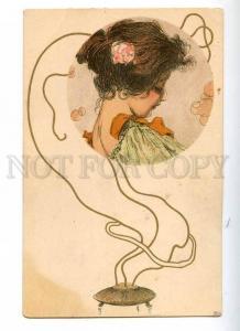 187933 ART NOUVEAU Head Belle in Smoke by KIRCHNER Vintage PC