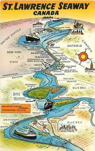 St. Lawrence Seaway Canada Map Card Pre-Zip Code Chrome