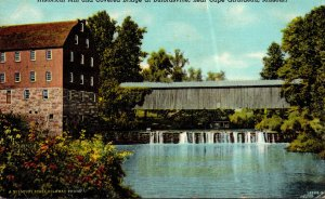 Missouri Bufordsville Historical Mill and Covered Bridge Near Girardeau Curteich