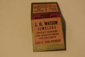 J. H. Watson Jewelers Jewelry Repaired Advertising 20 Strike Matchbook Cover