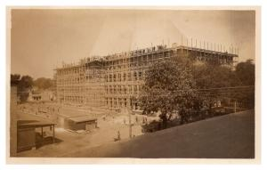 New York  Fulton , Constuction of Building , Workers  on roof , RPC