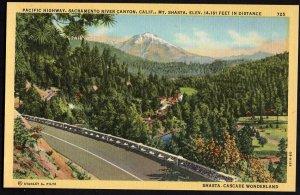 California Pacific Highway U.S. 99 Sacramento River Canyon Mt. Shasta LINEN
