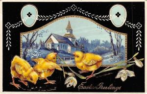 Easter~Chicks With Snowdrop Lilies Outside Church Frame~Gold Leaf~Black GEL