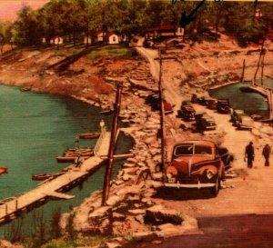 Gwinn Island Camp Approach Herrington Lake 1950 Cars Boats Vtg Linen Postcard
