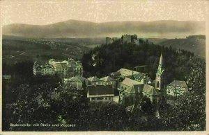 Badenweiler mit Rhein und Vogesen Church Castle Ruins Panorama Postcard