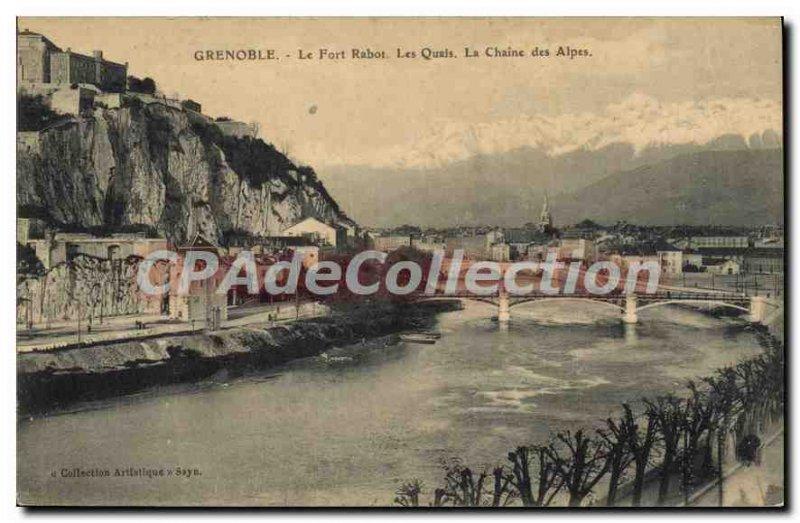 Postcard Grenoble Old Fort Rabot Quays La Chaine Des Alpes