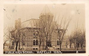Wapello Iowa~Old Public High School~Tower~Out Building~1913 Real Photo Postcard